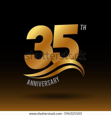 35 Years Golden Anniversary Logo Celebration Stock Vector Hd