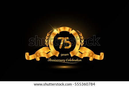 75 years golden anniversary logo celebration with ribbon and laurel.