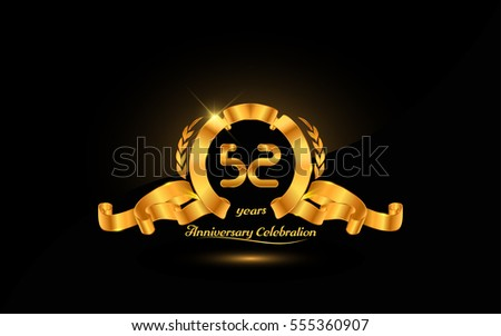 52 years golden anniversary logo celebration with ribbon and laurel.