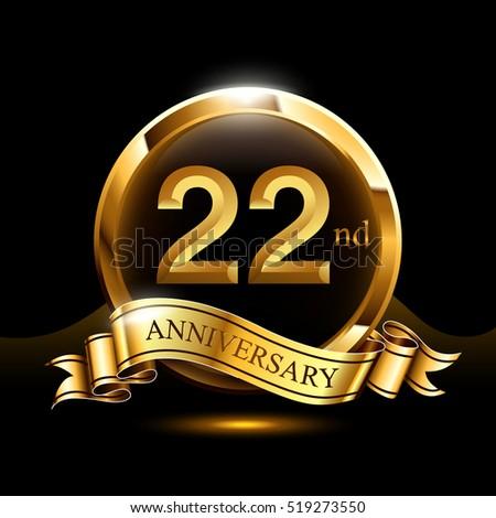 22 years golden anniversary logo celebration stock vector royalty