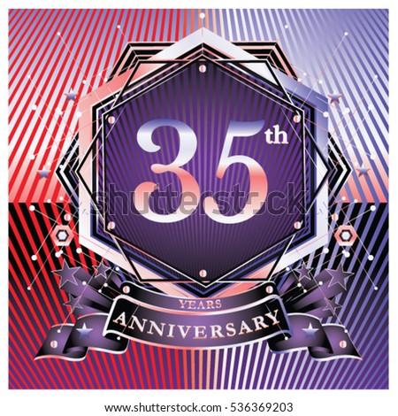 35 Years Golden Anniversary Logo Celebration Stock Vector 536369203