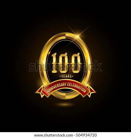 100 years golden anniversary logo with red ribbon and oval ring
