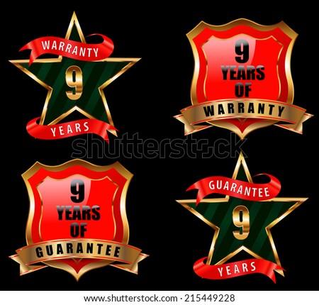 9 years guarantee and warranty badge, guarantee sign, warranty label - vector eps 10 - stock vector