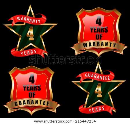 4 years guarantee and warranty badge, guarantee sign, warranty label - vector eps 10 - stock vector