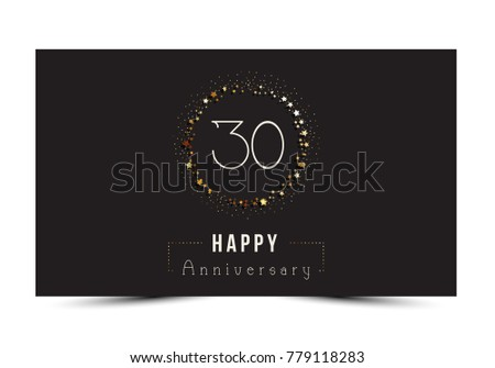 Years Happy Anniversary Card Template Stock Vector