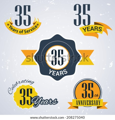 35 years of service/ 35 years / Celebrating 35 years / 35th Anniversary - Set of Retro vector Stamps and Seal for business - stock vector