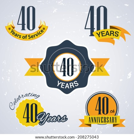 40 years of service/ 40 years / Celebrating 40 years / 40th Anniversary - Set of Retro vector Stamps and Seal for business