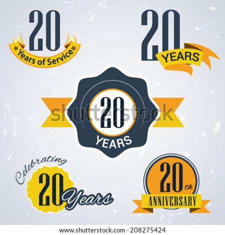 20 years of service/ 20 years / Celebrating 20 years / 20th Anniversary - Set of Retro vector Stamps and Seal for business