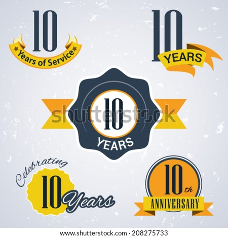 10 years of service/ 10 years / Celebrating 10 years / 10th Anniversary - Set of Retro vector Stamps and Seal for business