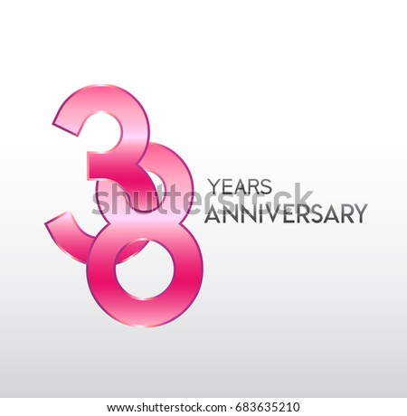 38 Years Pink Anniversary Overlapping Number Stock Vector 2018