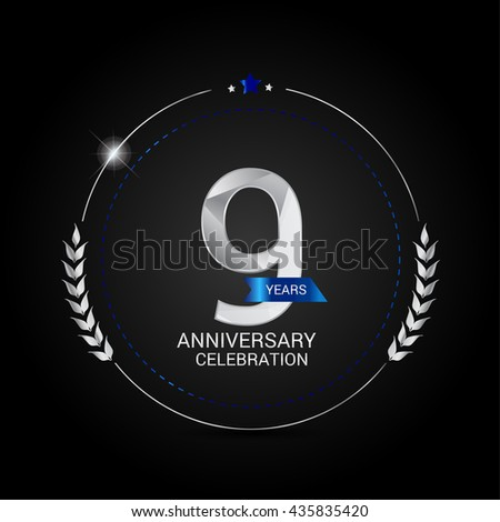 9 Years Silver anniversary logo, low poly design number - stock vector