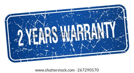 2 years warranty blue square grunge textured isolated stamp - stock vector