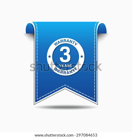 3 Years Warranty Blue Vector Icon Design