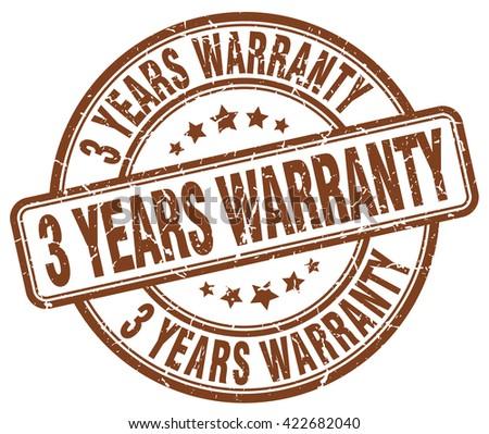 3 years warranty brown grunge round vintage rubber stamp.3 years warranty stamp.3 years warranty round stamp.3 years warranty grunge stamp.3 years warranty.3 years warranty vintage stamp. - stock vector