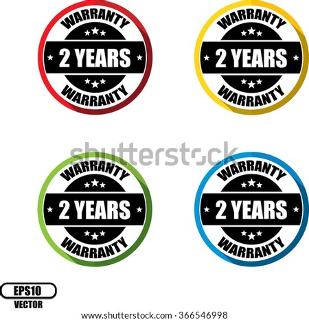 2 years warranty, Button, label and sign - Vector illustration