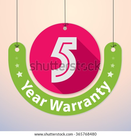 5 years Warranty Colorful Badge, Paper cut-out - stock vector