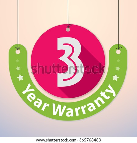 3 years Warranty Colorful Badge, Paper cut-out