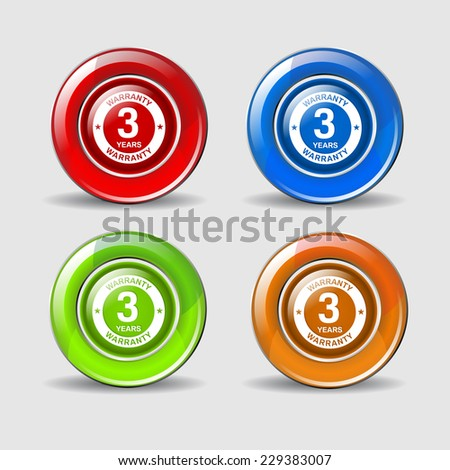 3 Years Warranty Colorful Vector Icon Design