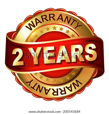 2 years warranty golden label with ribbon.  Vector illustration. - stock vector
