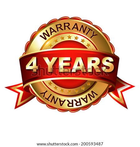 4 years warranty golden label with ribbon.  Vector illustration.