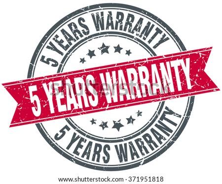 5 years warranty red round grunge vintage ribbon stamp - stock vector