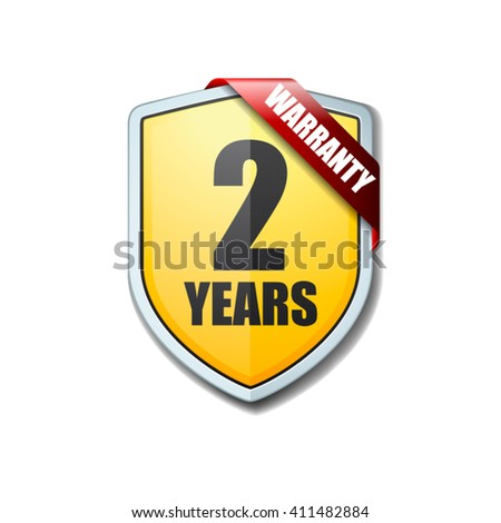 2 Years Warranty shield - stock vector