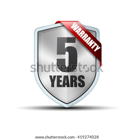 5 years warranty shield - stock vector