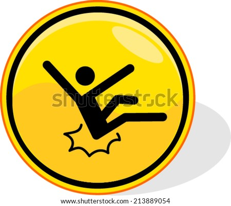 yellow caution sign, isolated white background. - stock vector