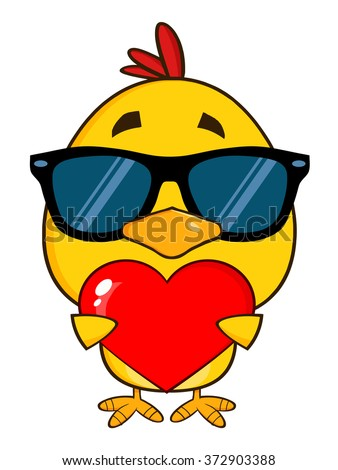 Yellow Chick With Sunglasses Cartoon Character Holding A Valentine Love Heart. Vector Illustration Isolated On White - stock vector
