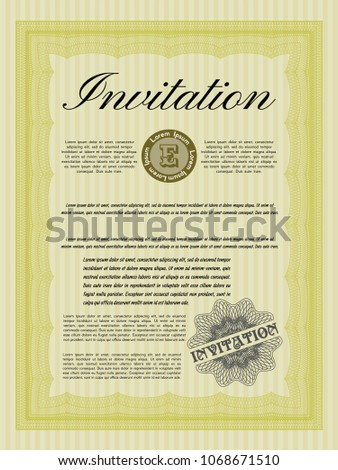 Yellow formal invitation detailed background beauty stock vector yellow formal invitation detailed with background beauty design stopboris Images