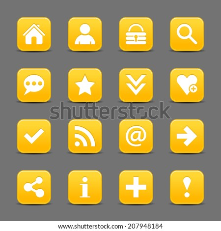 16 yellow satin icon with white basic sign on rounded square web button with black shadow on dark gray background. This vector illustration internet design element save in 8 eps - stock vector