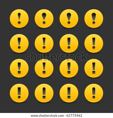 16 yellow web 2.0 button warning attention sign with exclamation mark. Smooth satined round shape with shadow on gray background - stock vector
