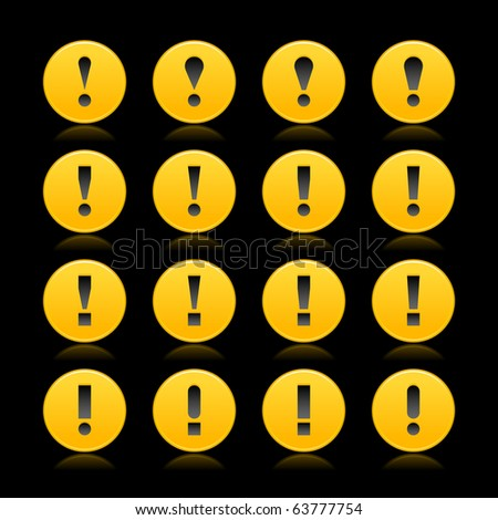 16 yellow web 2.0 button warning attention sign with exclamation mark. Smooth satined round shape with reflection on black background - stock vector