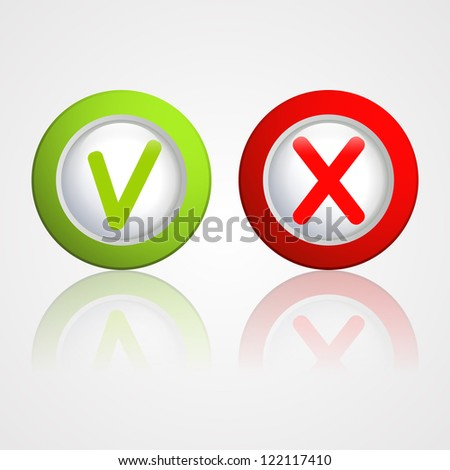 """yes"" and ""no"" buttons - stock vector"