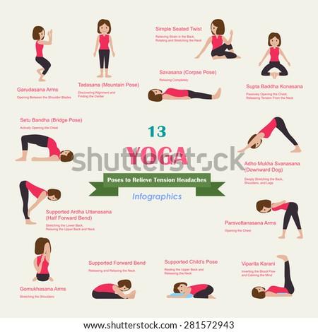 13 yoga poses relieve tension headaches 库存矢量图(免版税