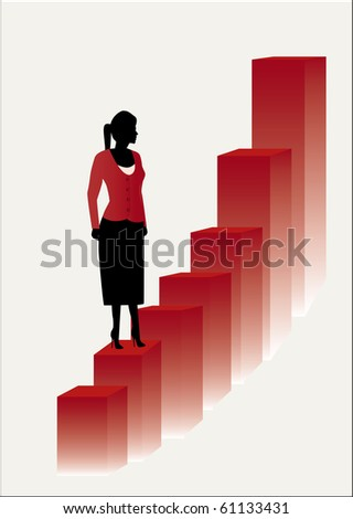 young female business women on  red steps - stock vector
