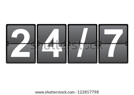 24/7 - stock vector