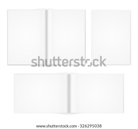 A6 A5 A4 or other A format  white brochure templates. Cover and  double-page spread both vertical and horizontal design with  text elements. Vector illustration - stock vector