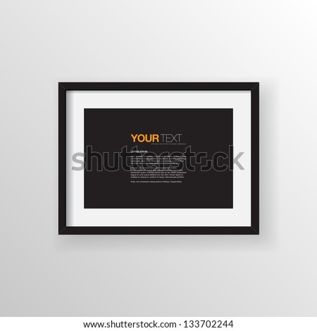 A4 / A3 Format paper design vector with text, picture frame and shadow on a wall vector background design for your content - stock vector