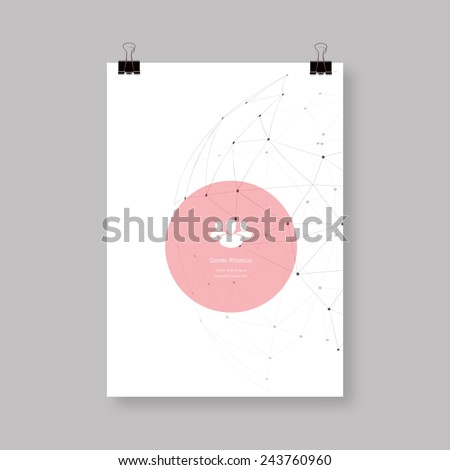 A4 / A3 Format paper design with text, minimal abstract sphere, paper clips and shadow Eps 10 vector illustration  - stock vector
