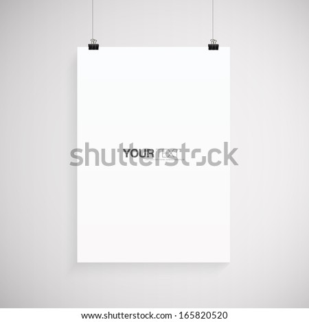 A4 / A3 Format paper with text, paper clips and shadow  Eps 10 vector illustration - stock vector