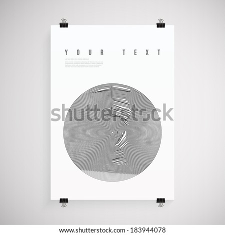 A4 / A3 format poster design with your text, circle lines paper clips and shadow  Eps 10 stock vector illustration - stock vector