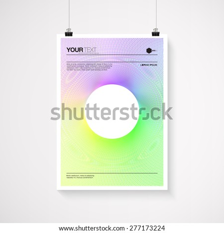 A4 / A3 format poster minimal abstract color blend design with your text, paper clips and shadow  Eps 10 stock vector illustration  - stock vector