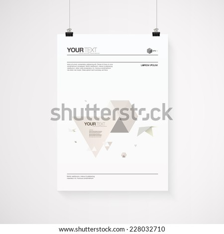A4 / A3 format poster minimal abstract 3d origami world with bird and triangles with your text, paper clips and shadow  Eps 10 stock vector illustration  - stock vector