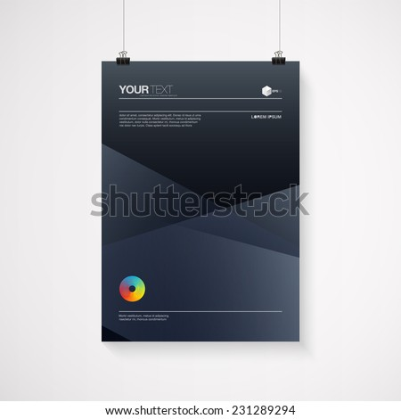 A4 / A3 format poster minimal abstract design with your text, paper clips and shadow  Eps 10 stock vector illustration  - stock vector
