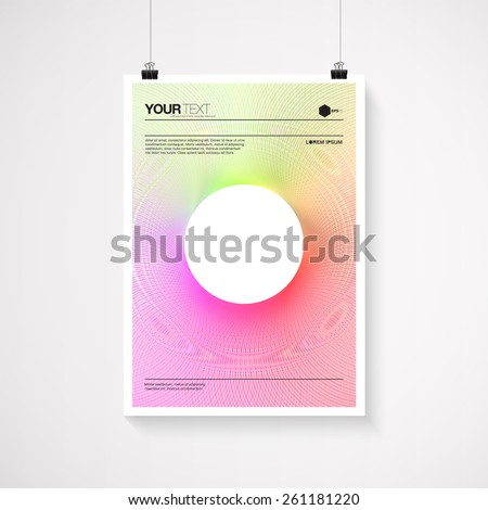 A4 / A3 format poster minimal abstract vivid color blend design with your text, paper clips and shadow Eps 10 stock vector illustration  - stock vector