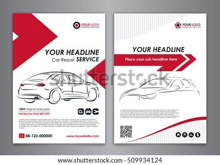 Auto Repair Services Badge Template Car Stock Vector - Workshop brochure template