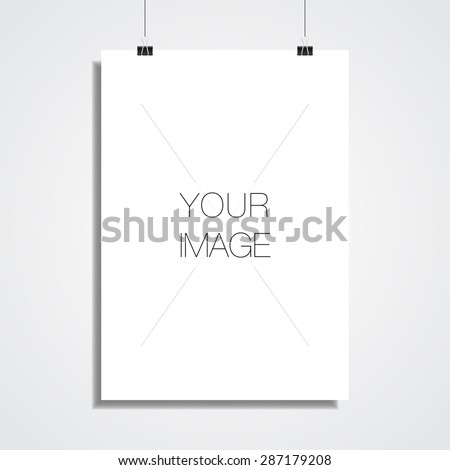 A3/A4 white paper hanging in front off wall for your content vector stock eps 10 illustration - stock vector