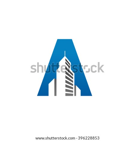 A alphabet building negative space letter logo blue