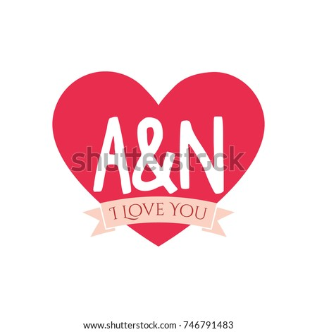 A And N Letter Inside Heart For St Valentines Day Design